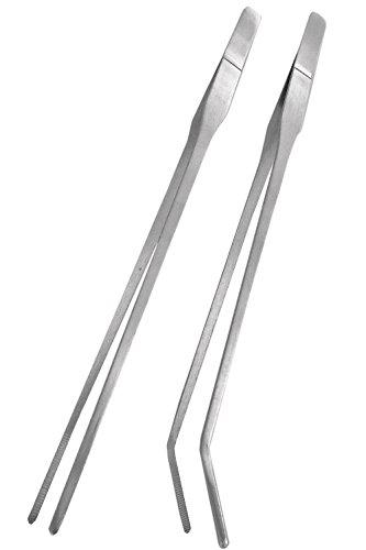 wumio ハーバリウム用ピンセット 27cm 2種類セット(まっすぐ・カーブ) ステンレス ハーバリウム・アクアリウム・テラリウム制作や水槽の水草植栽・お手入れに便利