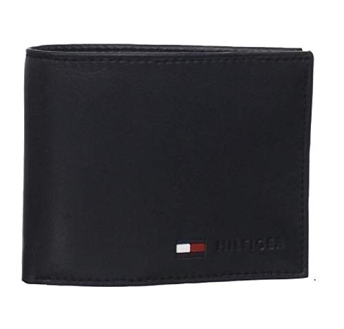 Tommy Hilfiger Coin Pocket Wallet - Genuine Leather Slim Single Fold Bifold for Men with Small Pouch - Black - One Size
