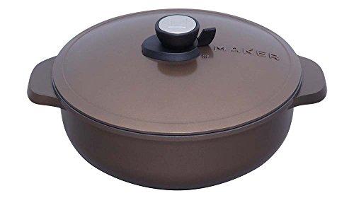 アイリスオーヤマ 両手鍋 無加水鍋 28cm 浅型 IH対応 ブラウン MKSN-P28S