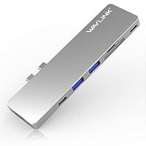"""Wavlink USB C Hub Type C adapter USB Cハブ 13""""/15"""" MacBook Pro 2016/2017/2018 USB C 充電ポート PD機能付きUSB C ハブ ドッキングステーション 4K HDMIポート 2* USB 3.0 ポートMicro SD/SDカードリーダー アルミニウム 7 in1 (シルバー) …"""