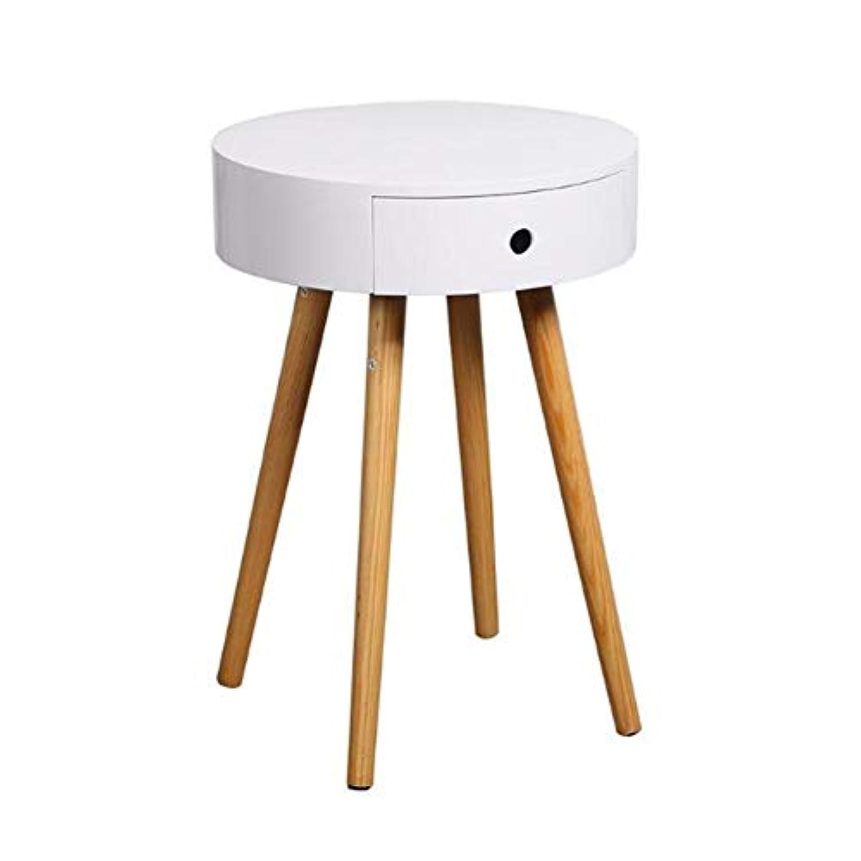 動機付ける部分的に格差CJC テーブル テーブル、コーヒーソファサイドエンドテーブル、ベッドサイドナイトテーブル小引き出し、家具モダンアクセント (色 : 白)