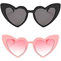 Vintage Clout Goggle Heart Sunglasses Retro Cat Eye Mod Style Kurt Cobain Glasses for Women 2 Pack