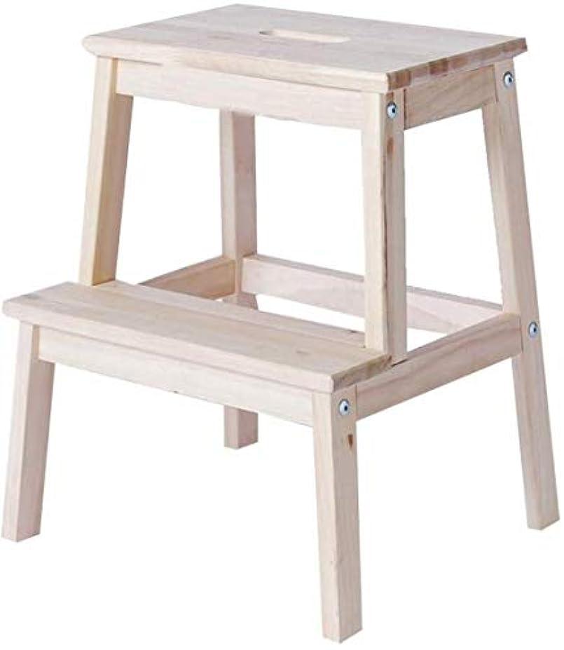 詩人適応チップ踏み台 ステップスツールラダースツールソリッドウッド家庭用組立多機能実用的なシンプルなファッション、2ステップラダー 脚立 (Color : Wood Color)