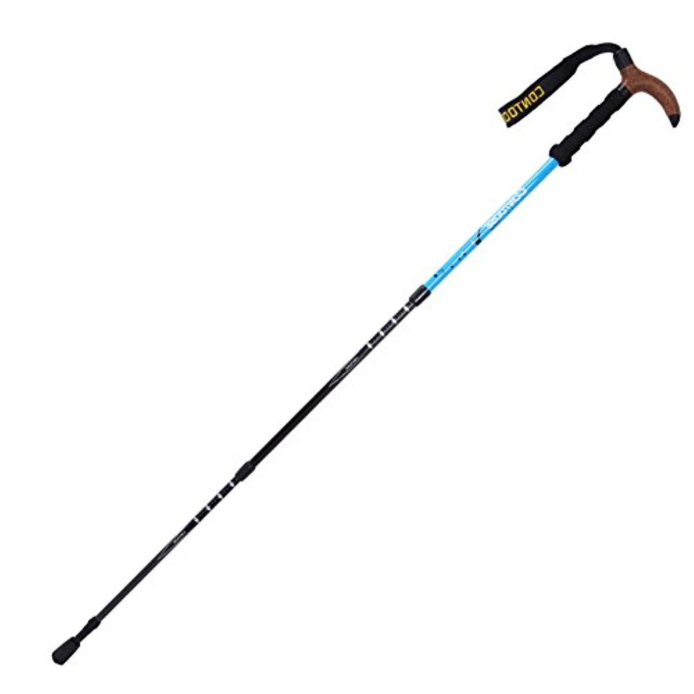 遅れミサイルジレンマトレッキングポール コルク, 軽量 杖?ステッキ 屋外 炭素繊維 松葉杖 折り畳み式 テレスコ ピック 機器 T 型 3つのトレッキングポール- 24inch