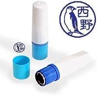 【動物認印】鳥ミトメ64・見返りヒゲペンギン ホルダー:ブルー/カラーインク: 青