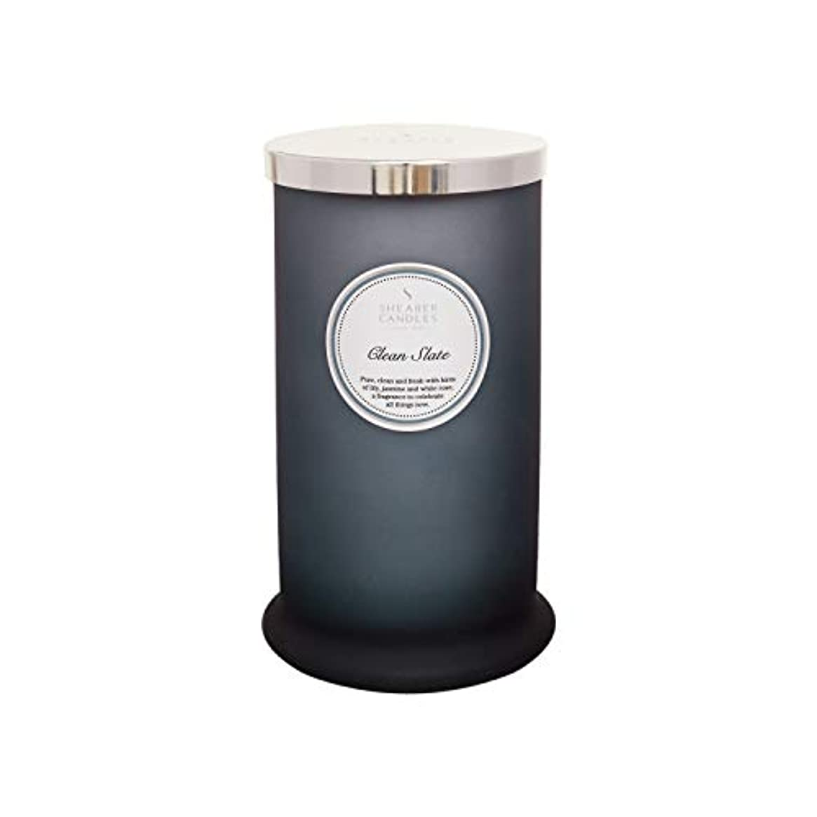Shearer キャンドル クリーンスレート 香り付き トールピラージャーキャンドル コットン芯 フレグランス&エッセンシャルオイル グレー ホワイトシルバー ラージ