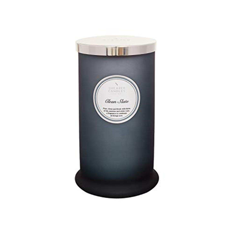 男らしい確かなすることになっているShearer キャンドル クリーンスレート 香り付き トールピラージャーキャンドル コットン芯 フレグランス&エッセンシャルオイル グレー ホワイトシルバー ラージ
