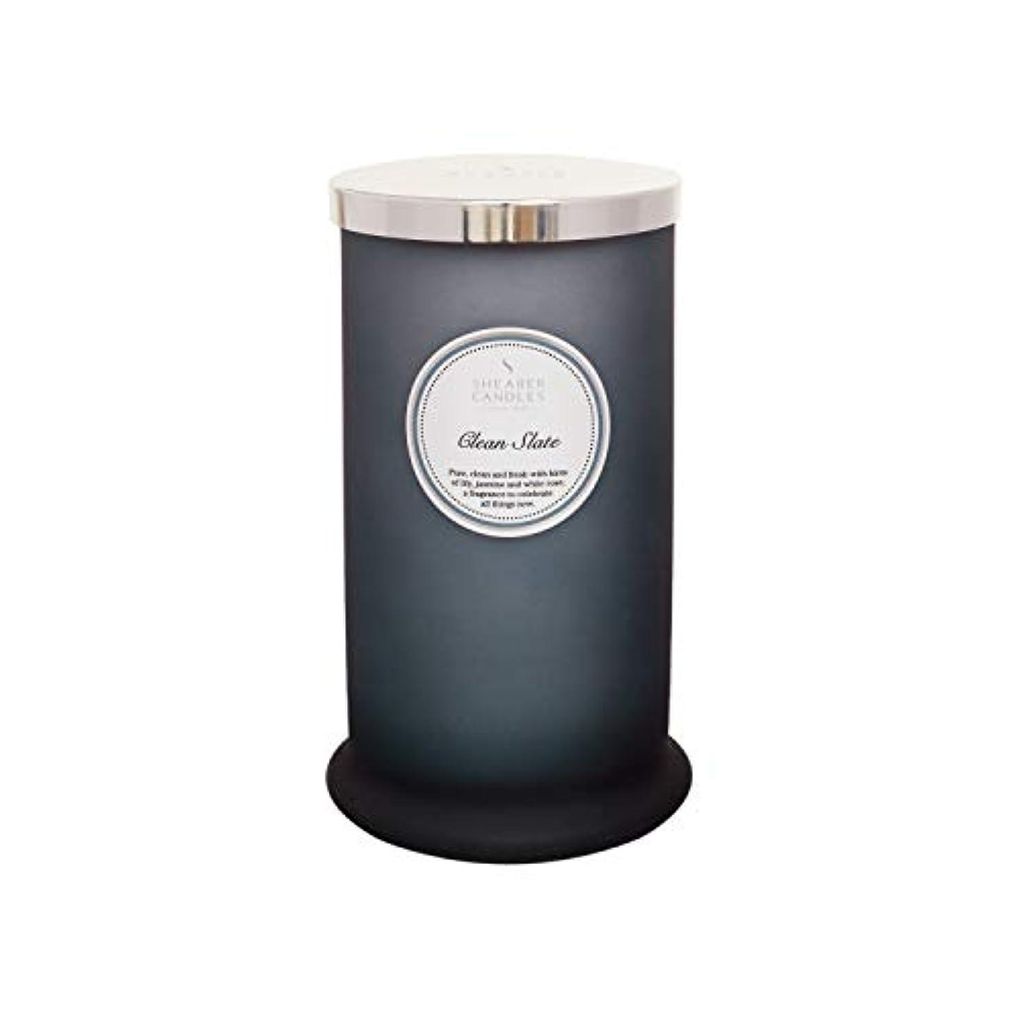 プレートひねり気がついてShearer キャンドル クリーンスレート 香り付き トールピラージャーキャンドル コットン芯 フレグランス&エッセンシャルオイル グレー ホワイトシルバー ラージ