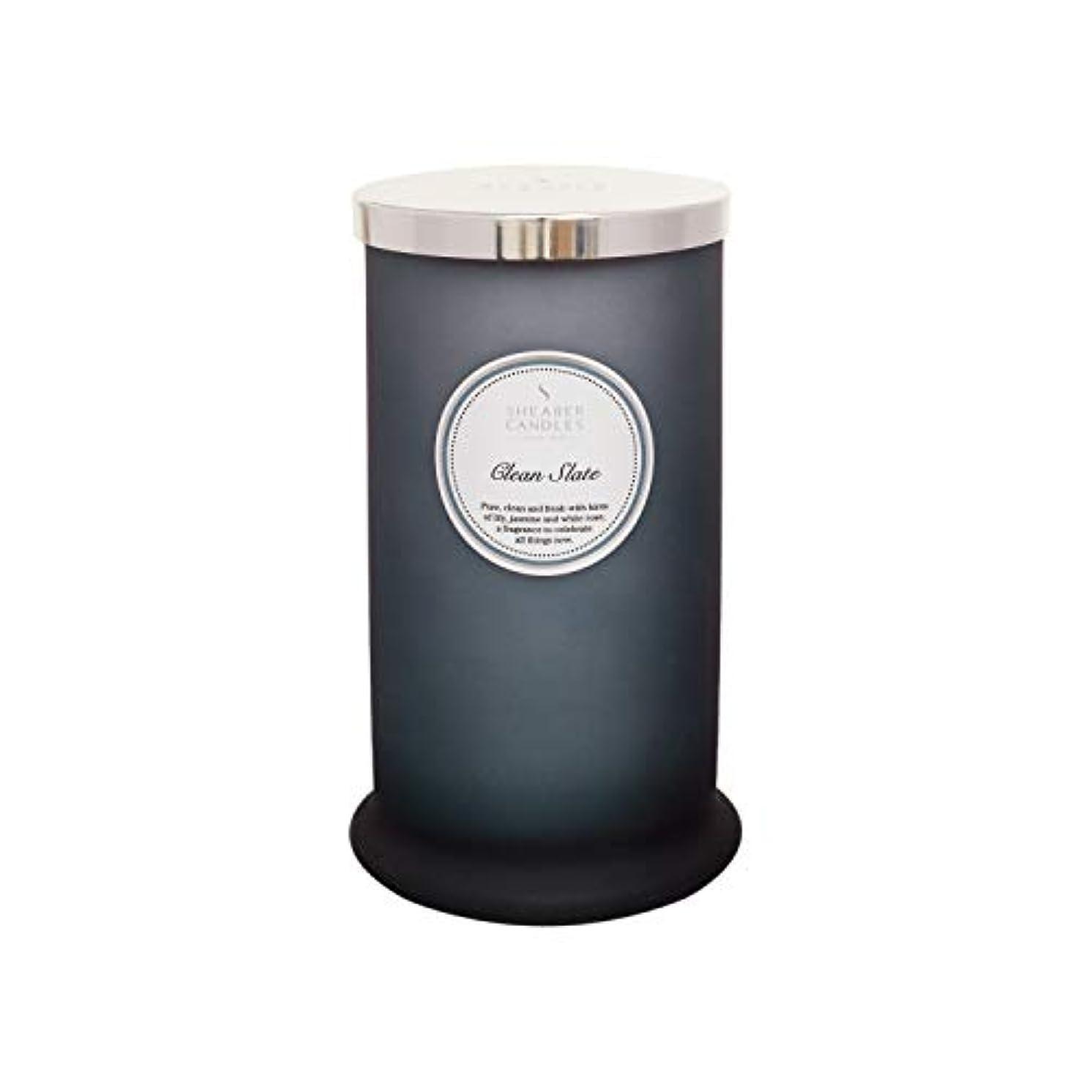味ドループ傾いたShearer キャンドル クリーンスレート 香り付き トールピラージャーキャンドル コットン芯 フレグランス&エッセンシャルオイル グレー ホワイトシルバー ラージ