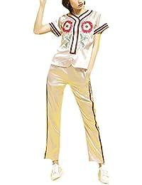 Nicellyer 女性ポピュラーショートスリーブスポーツ刺繍レジャーロングパンツ夏スウェットシャツパンツセット