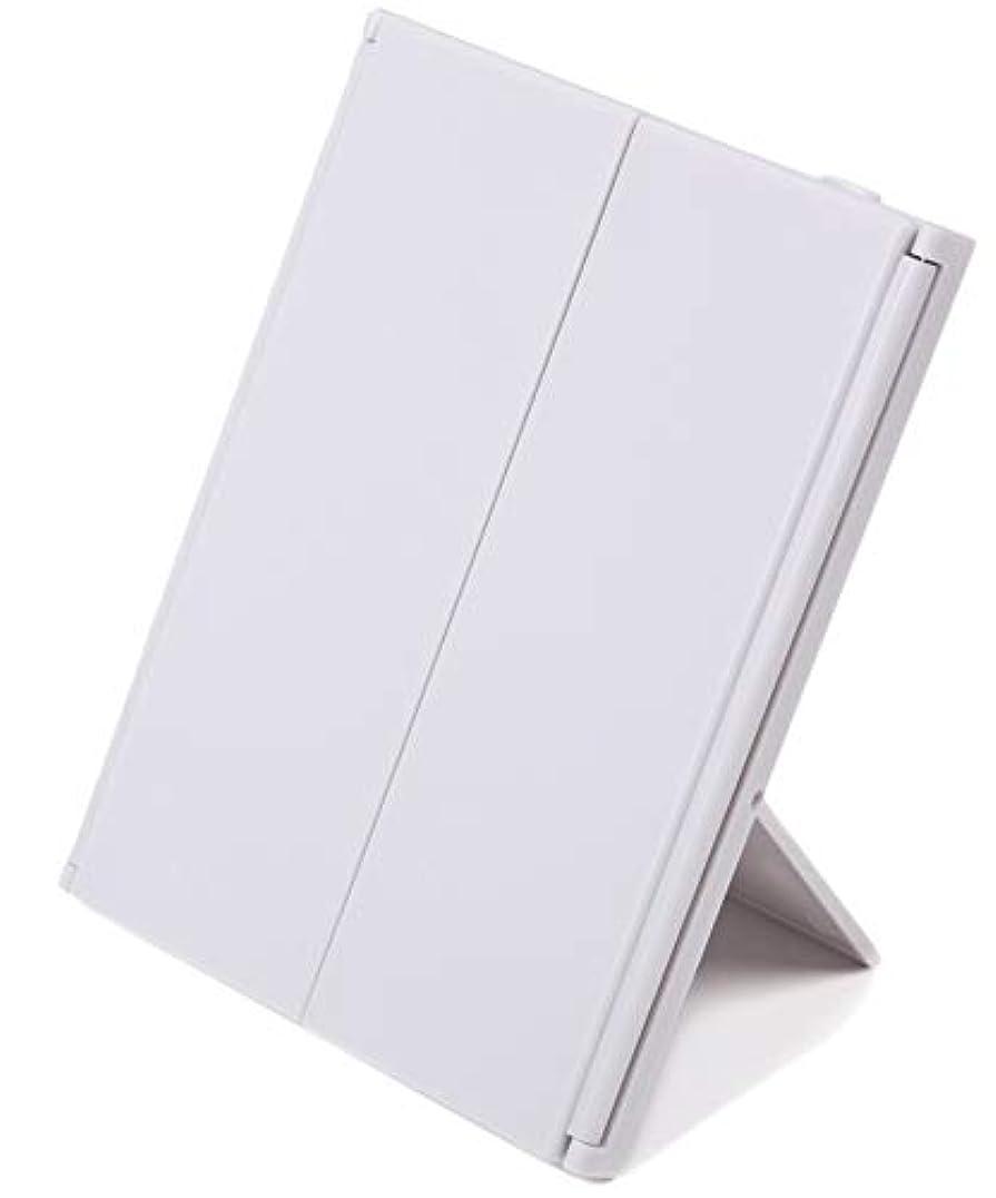 リボンレンジ熟達した化粧鏡 折り畳み (LED付き三面鏡, ホワイト)