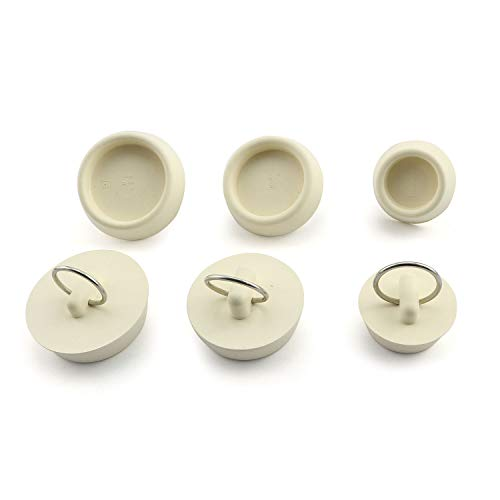Tegg Rubber Drain Stopper 6PCS 3 Sizes Rubber Sink Stoppers Plugs with Hanging Ring for Bathtub Kitchen Bathroom