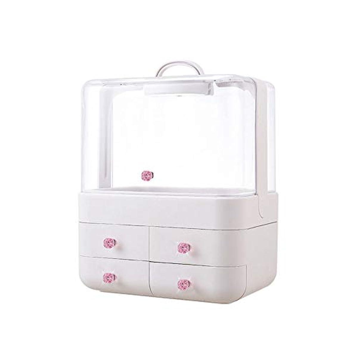 変形しわ引き受けるメイクボックス コスメボックス メイクスタンド 化粧品収納バックス 透明 持ち運び 大容量 かわいい 化粧箱 蓋付き 家用 普段用 収納 かわいい 手提げ付き ピンク シルバー