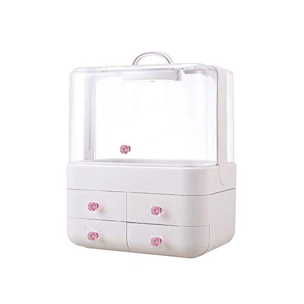 回想発言する怪物メイクボックス コスメボックス メイクスタンド 化粧品収納バックス 透明 持ち運び 大容量 かわいい 化粧箱 蓋付き 家用 普段用 収納 かわいい 手提げ付き ピンク シルバー
