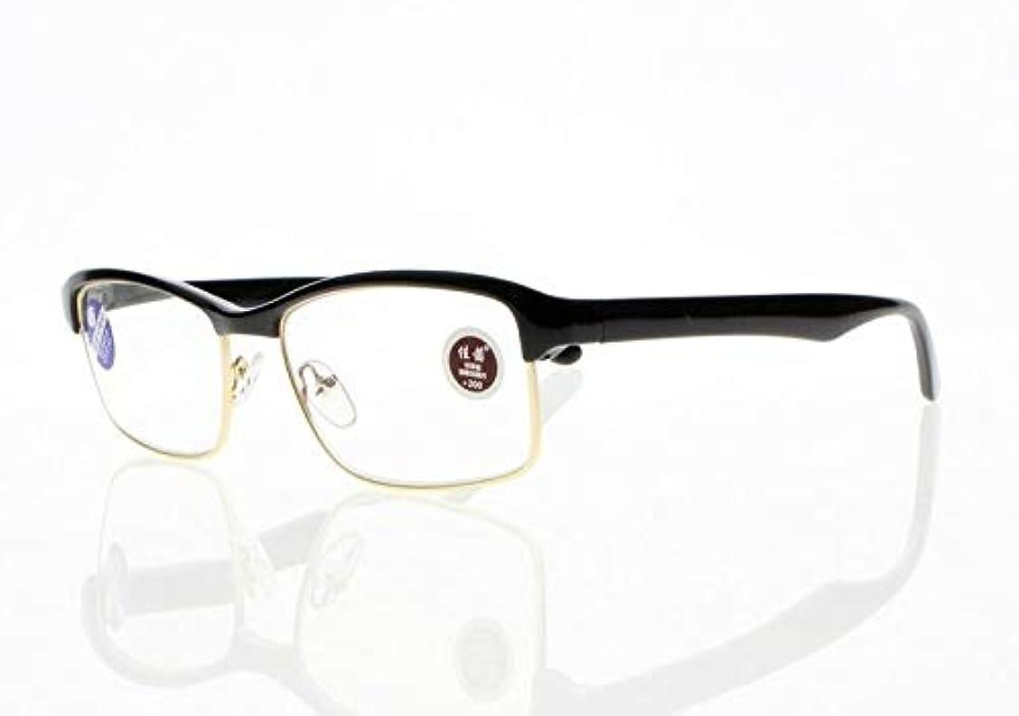 付ける抵抗力があるシャークFidgetGear メンズハーフゴールド長方形フレームアンチブルーライトアセテート老眼鏡+ 1.0?+ 4.0 ブラック