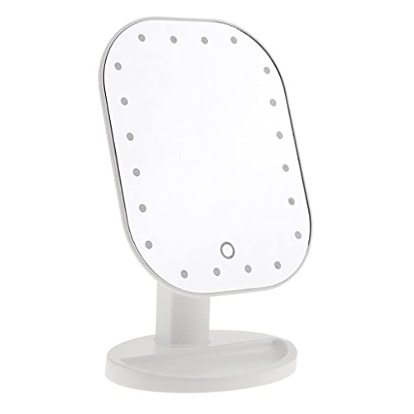 赤ちゃんヨーロッパつぶやきLEDメイクミラー LED化粧鏡 メイクミラー LED女優ミラー 卓上スタンドミラー 180°回転 明るさ調整可 バッテリー式 全3色選べる - 白