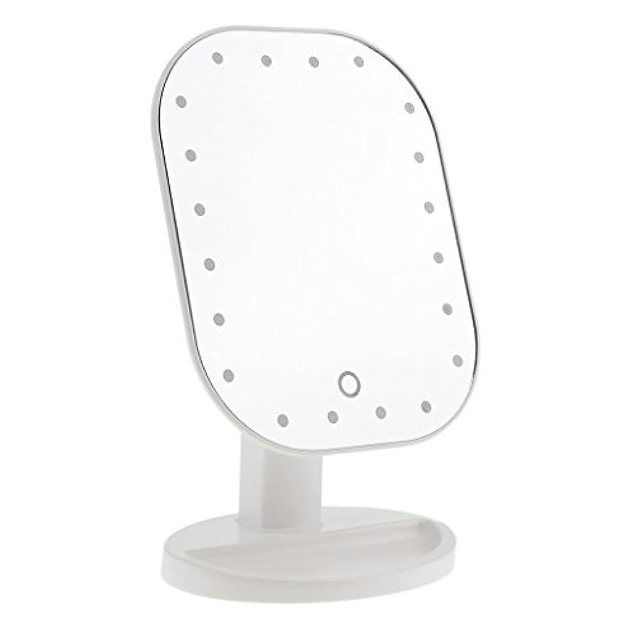 区別する人種歩道LEDメイクミラー LED化粧鏡 メイクミラー LED女優ミラー 卓上スタンドミラー 180°回転 明るさ調整可 バッテリー式 全3色選べる - 白