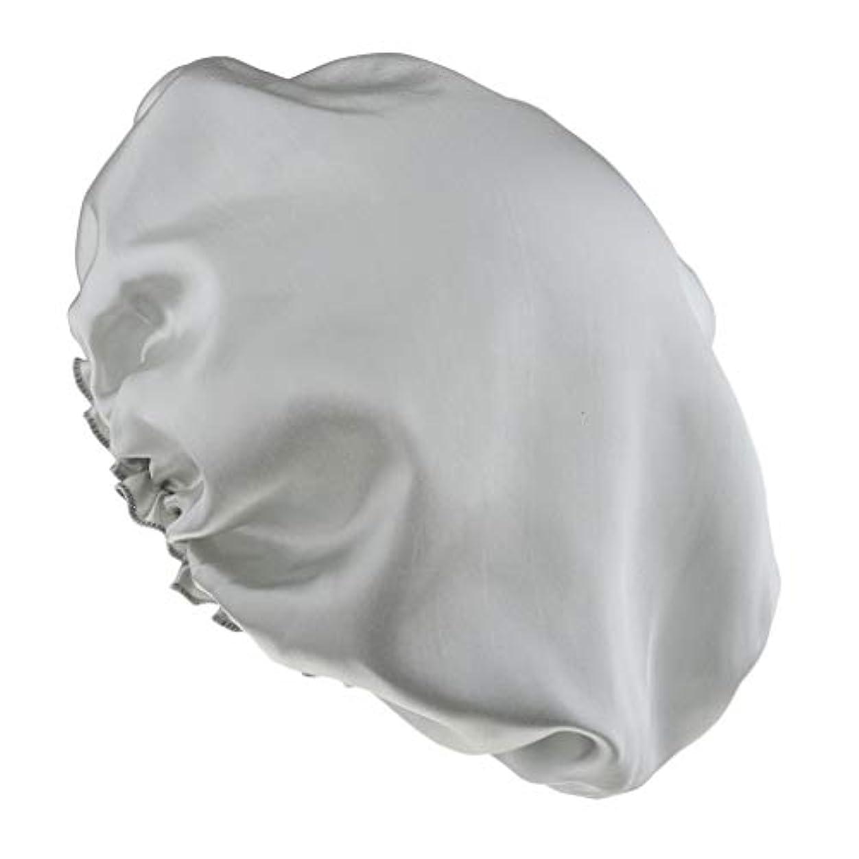 料理をする宝石生態学sharprepublic 女性サテンの夜の眠り帽子髪ボンネットキャップヘッドカバーターバンラップ弾性 - 銀