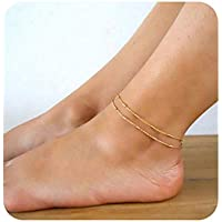Gold Coin Chain Anklet,14K Gold Plated Dainty Handmade Boho Beach Ankle Bracelets for Women