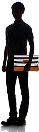 Tochigi Leather Clutch Bag 118-48-0011: Navy Stripe
