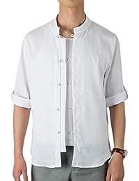 chenshiba-JP メンズ中国スタイルロングスリーブボタンアップリネンコットンスタンドカラードレスシャツ