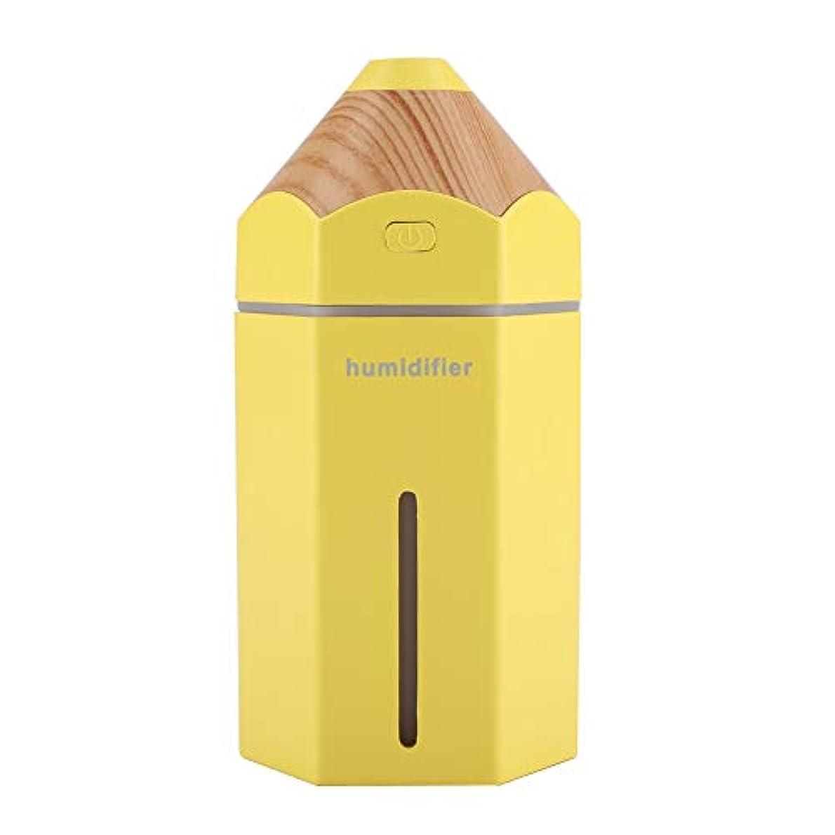 考古学者コショウ敬礼USBの拡散器、再充電可能な携帯用車のオフィスの超音波加湿器7色LEDライト拡散器(黄)