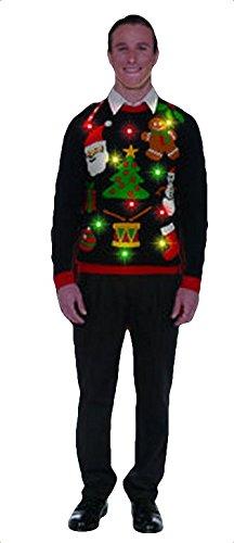 Forum Novelties Men's Plus Size Everything Christmas Lite Up Sweater, Black, X-Large
