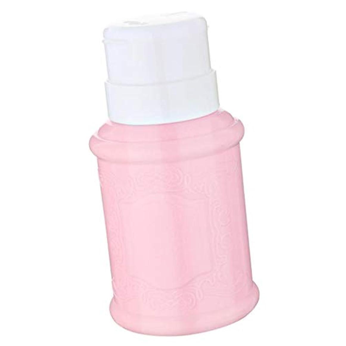 すり悪性端Perfeclan 空ポンプボトル クリアポンプ ネイルクリーナーボトル ポンプディスペンサー ジェルクリーナー 全3色 - ピンク