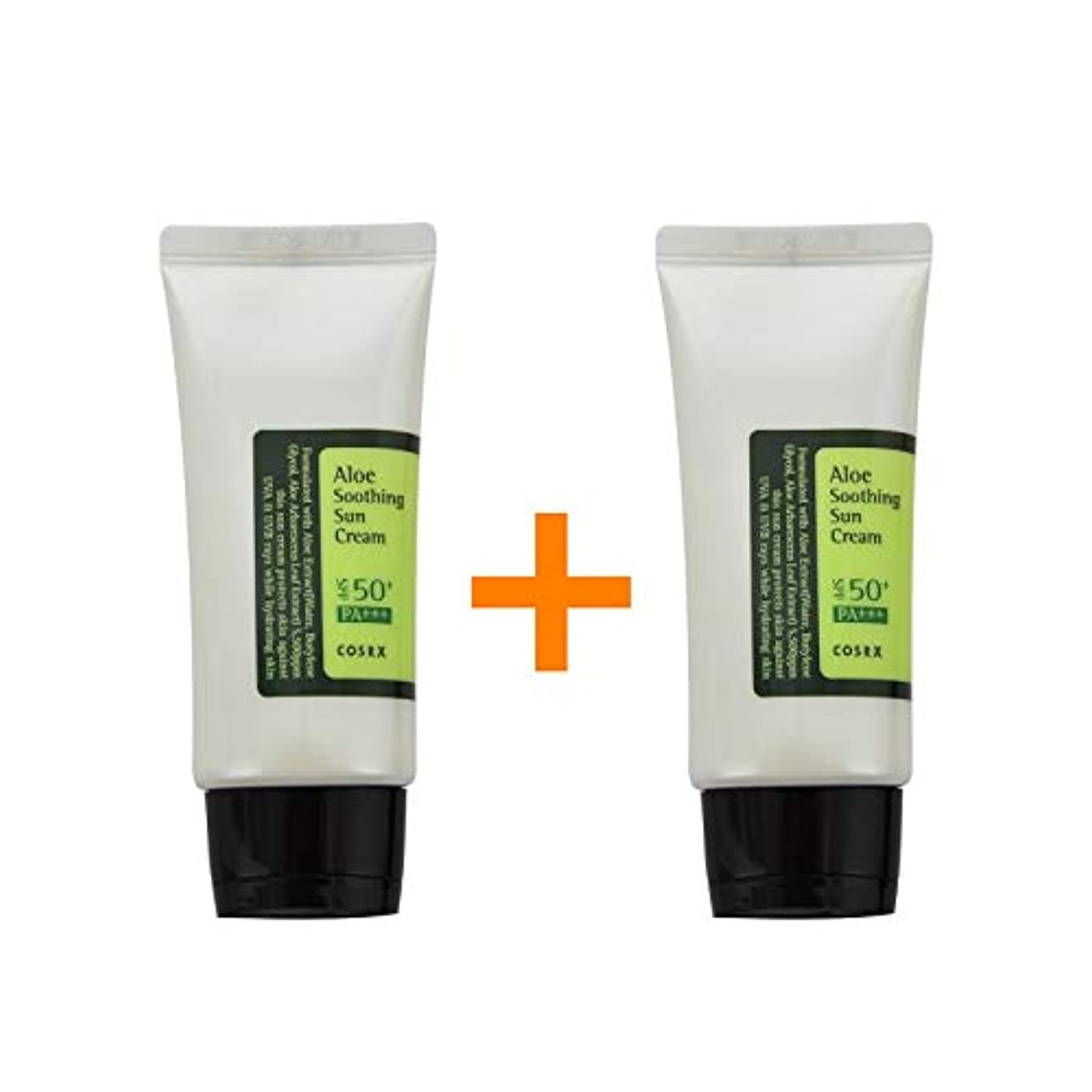 セットする短くするベジタリアン[ 1 + 1 ] COSRX コースアールエックス アロエ スージング サンクリーム Aloe Soothing sun cream (50ml) SPF50+/PA+++ 韓国日焼け止め