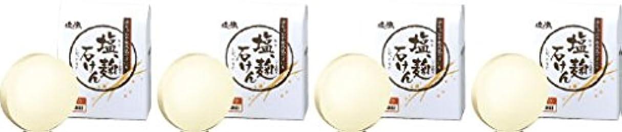円形メッシュ家畜ダイム 塩の精 無添加 塩、麹石けん 80g 4個セット