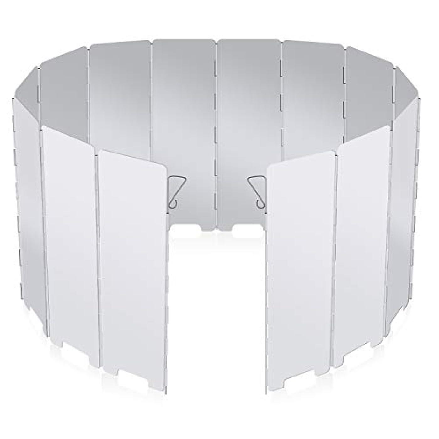 徴収精神的に注目すべきChamsaler風除板 ウインドスクリーン 折り畳み式 防風板 アルミ製 14枚 延長版 軽量 小型 耐摩 キャンプ 登山 アウトドア活動に適用 収納袋付き 携帯に便利