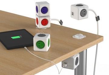 POWER CUBE キューブ型電源 4個口 USBポート2個口 延長コード1.5m付き グレー