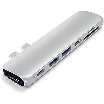 Satechi Type-C アルミニウム Proハブ (シルバー) 2019/2018 MacBook Pro, 2018 MacBook Air対応 40Gbs Thunderbolt 3 4K HDMI Micro/SDカード USB 3.0ポート×2 マルチ USB ハブ