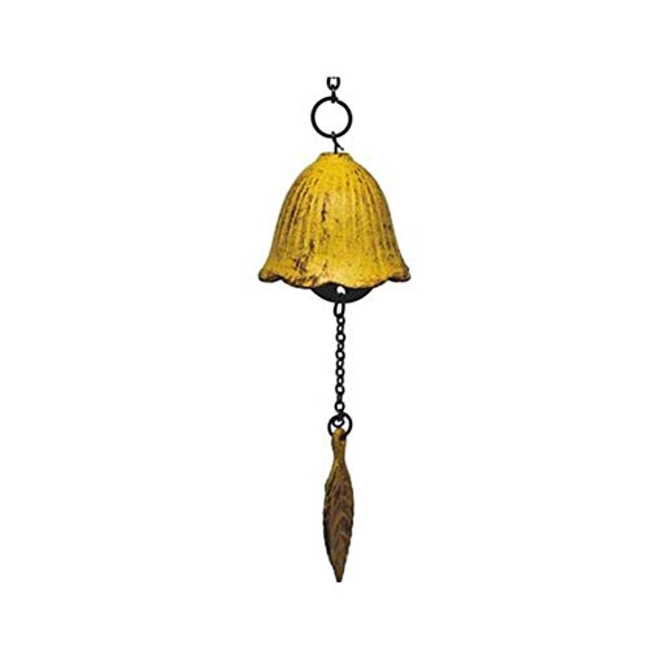 を通して低下アッティカス風チャイム、クローバーレトロ風チャイム、メタル風チャイム、ベッドルームバルコニーのドアの装飾 (Color : Yellow, Size : 5.5*5.0cm)
