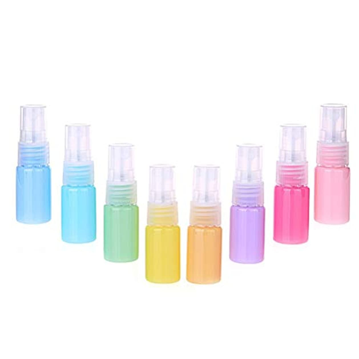 オーナメントバング広々Frcolor 8ピース 10ml スプレー空ボトル カラフルな 収納ボトル 耐久性 化粧水 旅行アクセサリー (混合色)