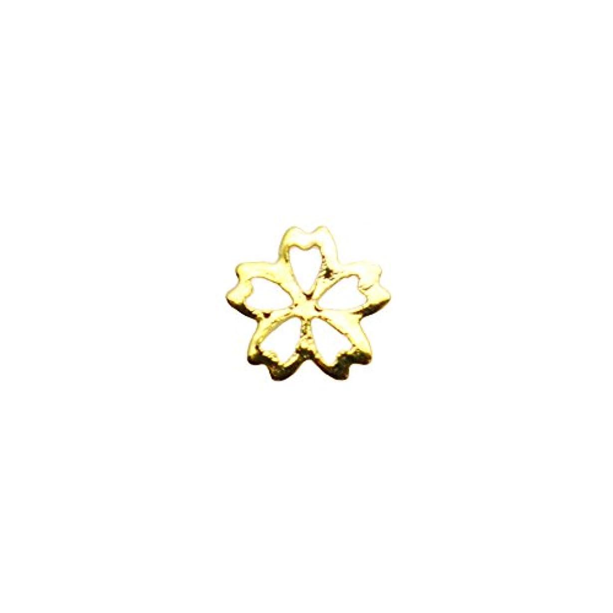 ビスケット王室しっかり桜フレームパーツ 4mm ゴールド 花パーツ フラワーパーツ 桜パーツ ジェルネイル セルフネイル 春ネイル