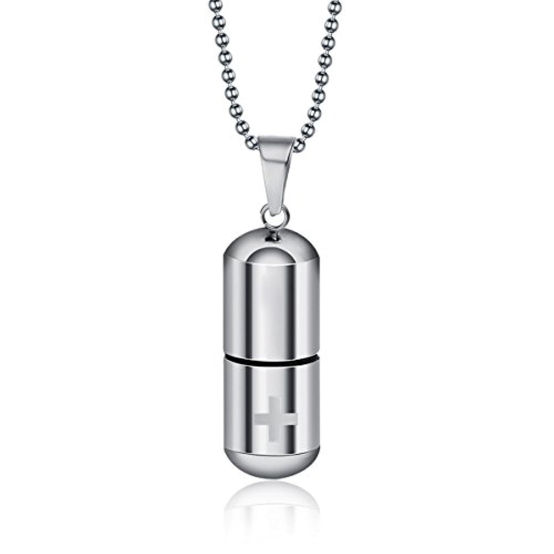 HOUSWEETY 防水中空ステンレス ロケットペンダント 香水ペンダント 十字架カプセル 銀 2.8cmx1cm 1個[ギフトバック&チェーンを提供]