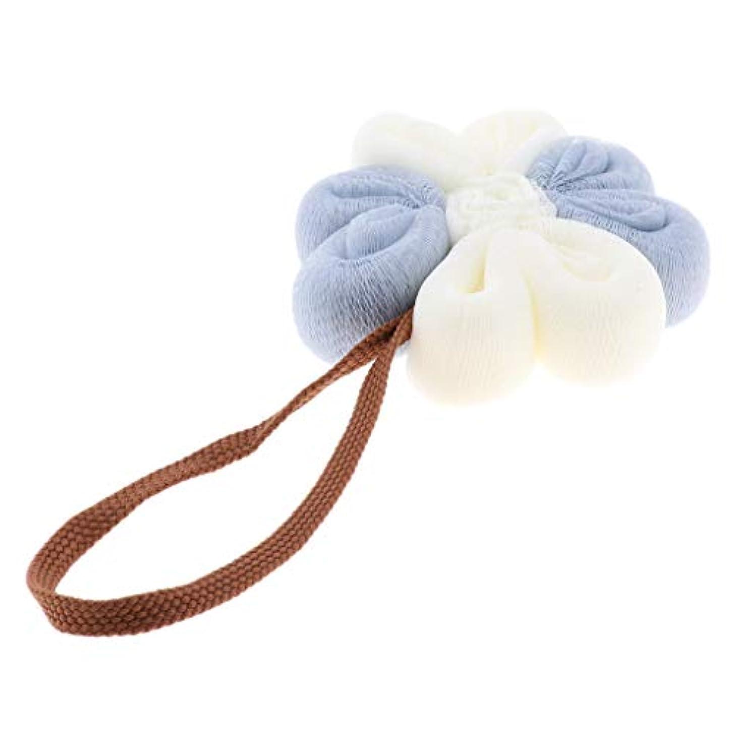フラッシュのように素早く無し慢なHellery 女性男性大浴場シャワースポンジ剥離パフスクラバーボールパッド - ブルーホワイト