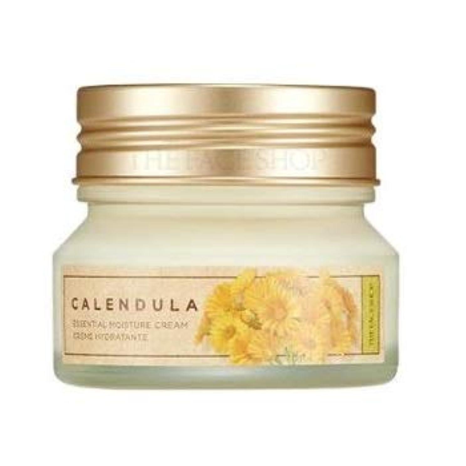 ハンカチゲスト過度にTHE FACE SHOP Calendula Essential Moisture Cream ザフェイスショップ カレンデュラ エッセンシャル モイスチャー クリーム [並行輸入品]