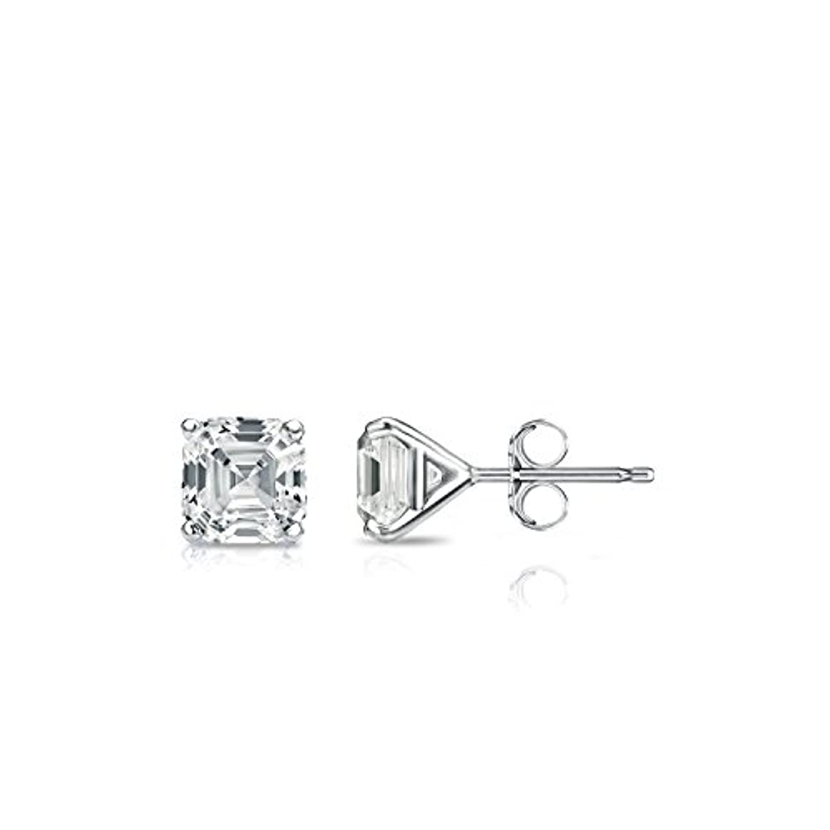キャンベラ結婚するシャー14 Kホワイトゴールド4プロングMartini Asscherダイヤモンドメンズスタッドイヤリング( 1 / 2 – 2 ct、Oホワイト、i1 - i2 ) push-back