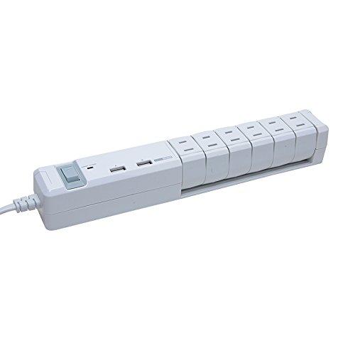 Fargo USB ほこり防止シャッター付 電源タップ AC6個口 PT600WH