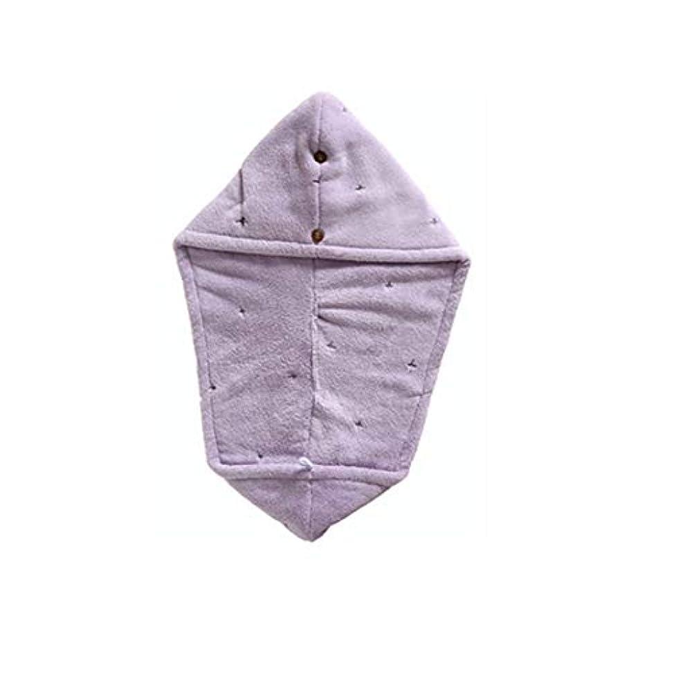 ジーンズ十一主導権DKX シャワーキャップ、二層吸収性柔らかい乾いた髪キャップ、乾いたタオル、タオル 髪のタイムリーな保護 (Color : Purple)