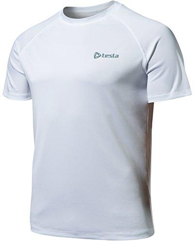 MTS03-WHT-L(テスラ)TESLA HyperDri ドライフィット スポーツ シャツ [UVカット・吸汗速乾] アクティブ Cool ドライ ランニング アスリート フィットネス トップ