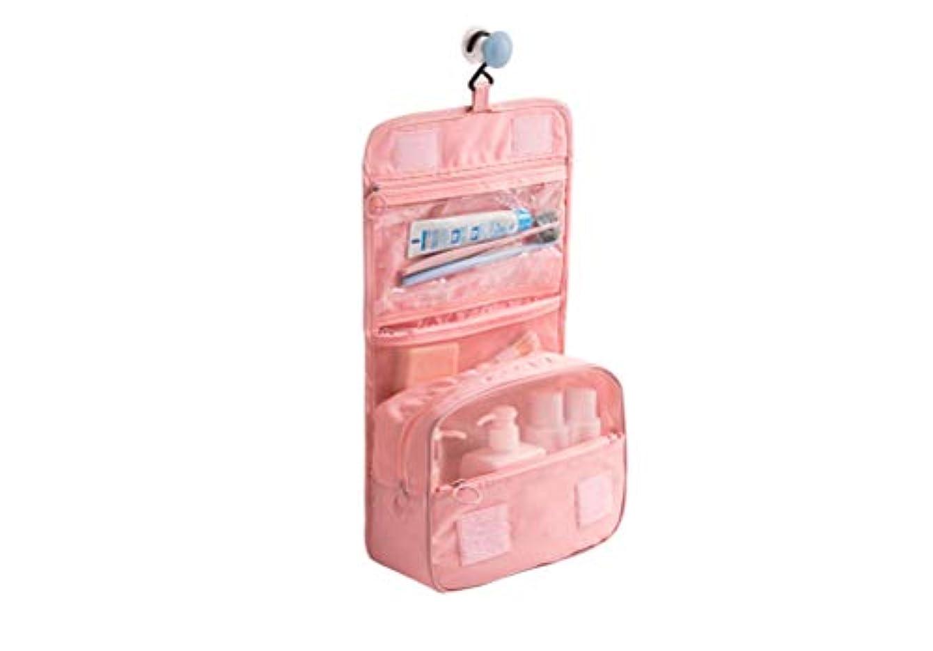 援助する忌まわしい四面体LSHJP 女性のためのポータブル旅行吊りトイレタリーバッグ防水化粧品メイクポーチ収納袋男性大容量 (Color : ピンク, Size : ワンサイズ)