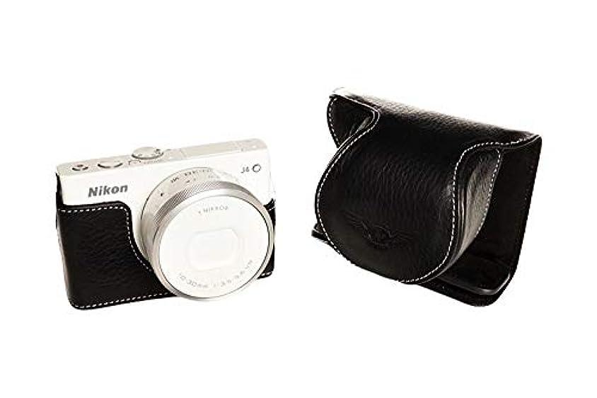 役に立つ別れるチョコレートニコン Nikon 1 J4用本革レンズカバー付カメラケース ブラック