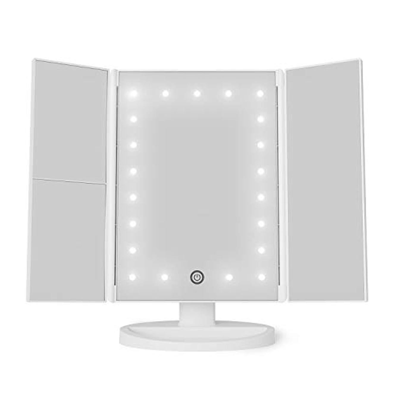 バランスのとれた島付けるPinkleStar 化粧鏡 化粧ミラー 鏡 三面鏡 女優ミラー 卓上 led付き 折りたたみ 拡大鏡 2&3倍 明るさ調節可能 180° 電池&USB (ホワイト)