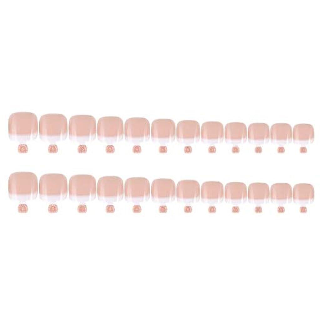 お茶フォーカスペナルティDIYマニキュアのための24Pcs偽のつま先のヒントセットフランスのフルカバー偽のつま先の爪のヒント