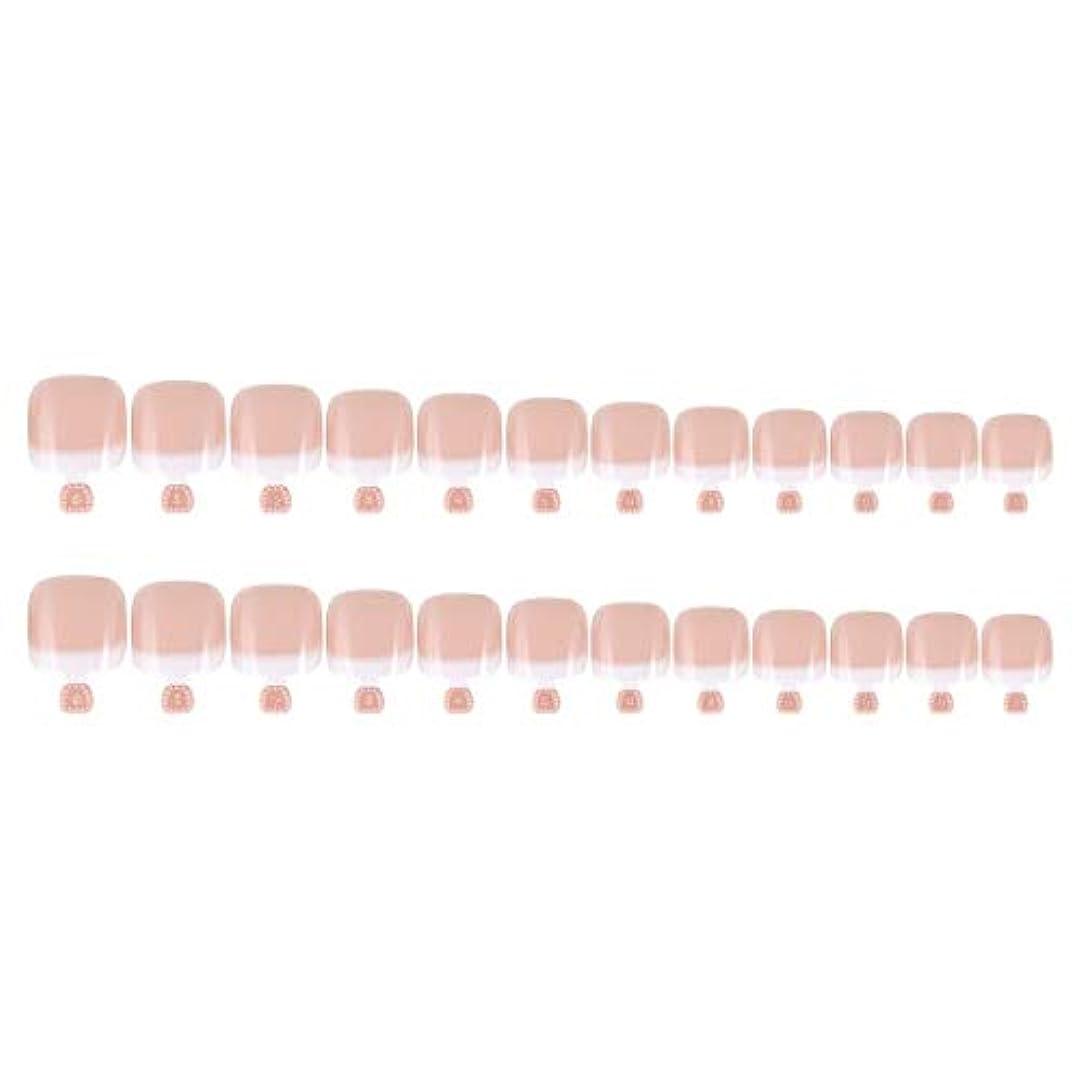 息苦しい力学患者DIYマニキュアのための24Pcs偽のつま先のヒントセットフランスのフルカバー偽のつま先の爪のヒント