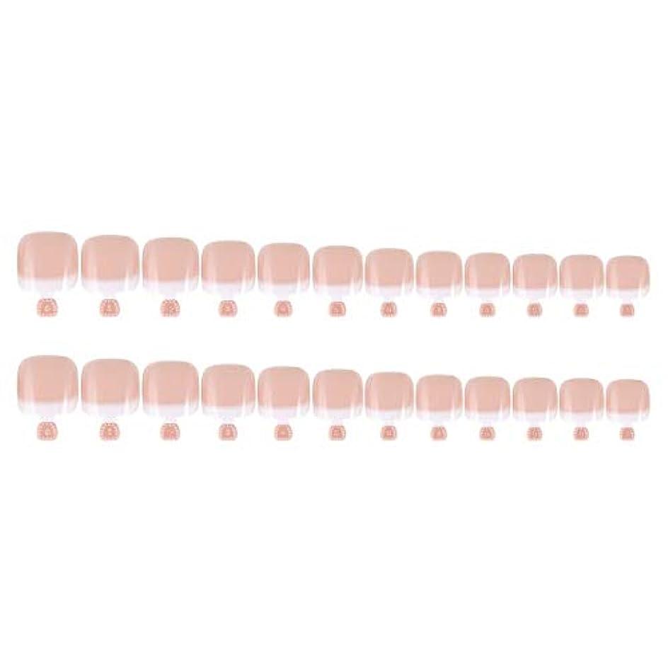 増強する構築する興奮DIYマニキュアのための24Pcs偽のつま先のヒントセットフランスのフルカバー偽のつま先の爪のヒント