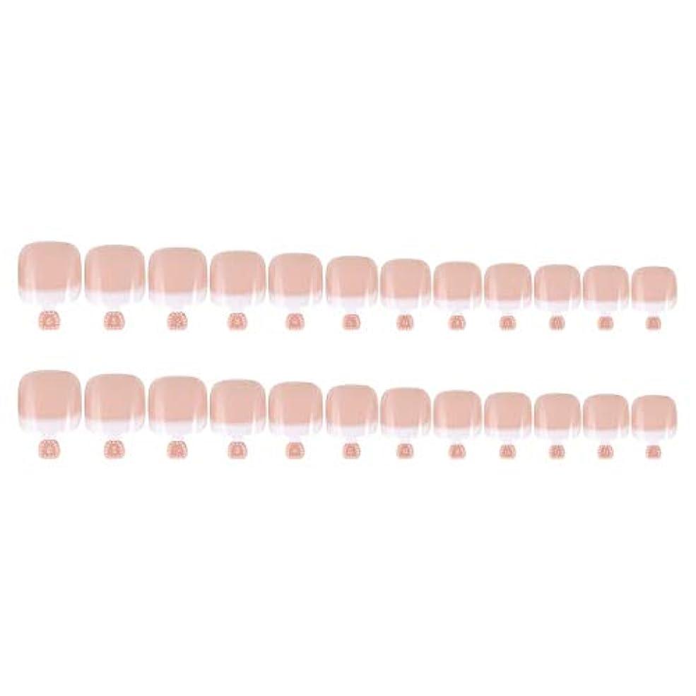 報酬の固体誤DIYマニキュアのための24Pcs偽のつま先のヒントセットフランスのフルカバー偽のつま先の爪のヒント